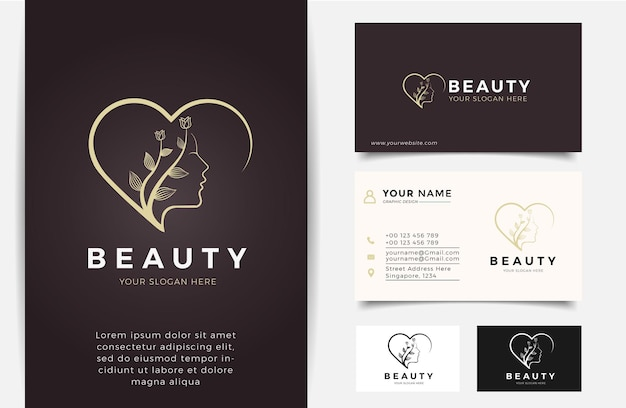 Beauty woman silhouette logo and business card