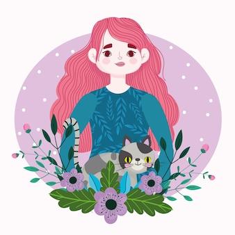 斑点のある猫ペット動物と花の漫画イラストを持つ美女