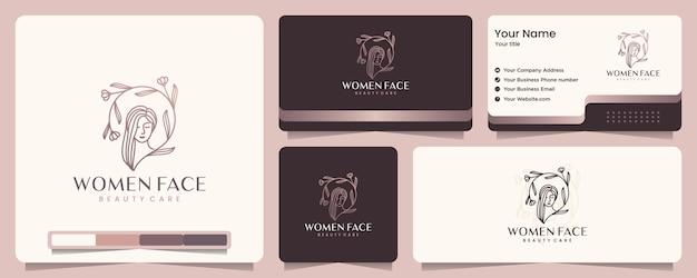 美容女性、美容ケア、女性の顔、エレガンス、バナーと名刺、ロゴデザインのインスピレーション