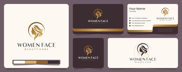 美容女性、美容ケア、女性の顔、ゴールドカラー、エレガンス、バナーと名刺、ロゴデザインのインスピレーション