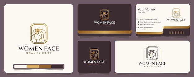 Beauty women ,beauty care ,women face , gold color ,elegance ,banner and business card , logo design inspiration