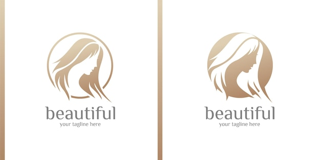 Beauty women beauty care women face  gold color elegance banner   logo design