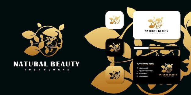 美容女性、美容ケア、女性の顔、ゴールドカラー、エレガンス、ロゴ、名刺