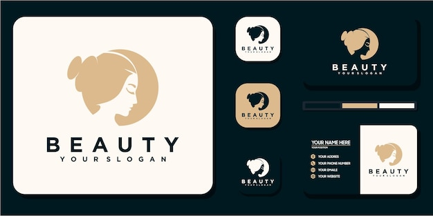 Beauty women ,beauty care ,women face , gold color ,elegance ,logo and business card reference