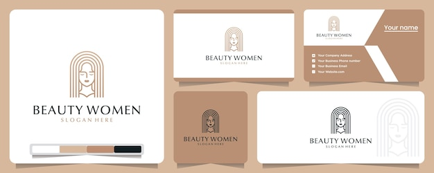 美容女性、エレガント、ミニマリスト、ロゴデザインのインスピレーション