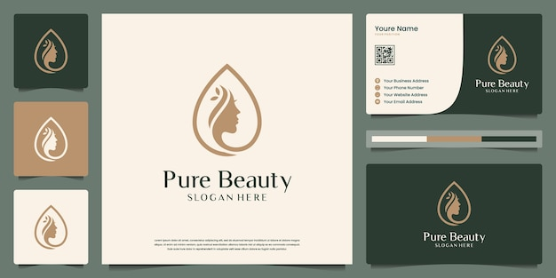Beauty women face combine droplets logo design and business card. symbol for beauty salon, spa.