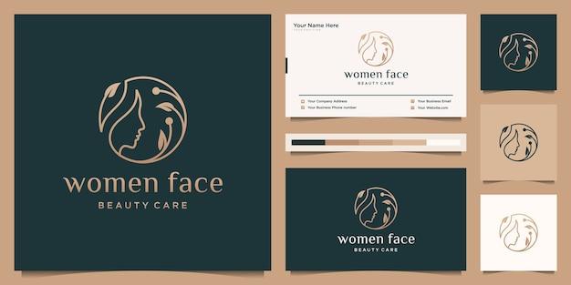 美容女性の顔は、自然の葉のロゴのデザインと名刺を組み合わせています。