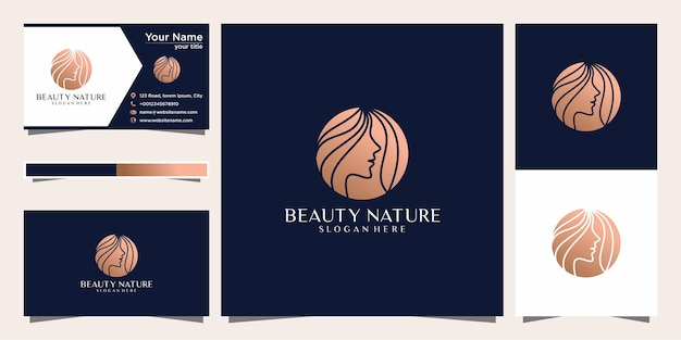 Beauty women face feminine symbol for salon, cosmetic, skin care and spa. logo and business card.