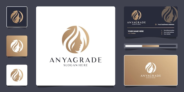 Beauty women face and leaf logo template. luxury logo design for branding salon with business card.