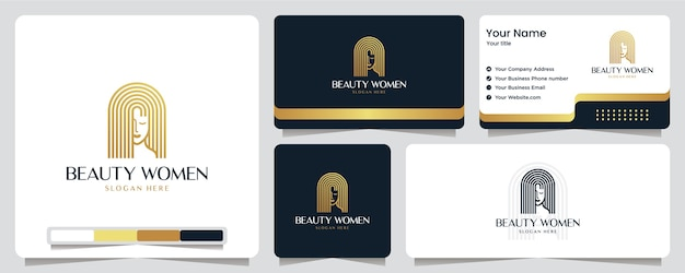 Beauty women, gold color, luxury , banner, business card and logo design