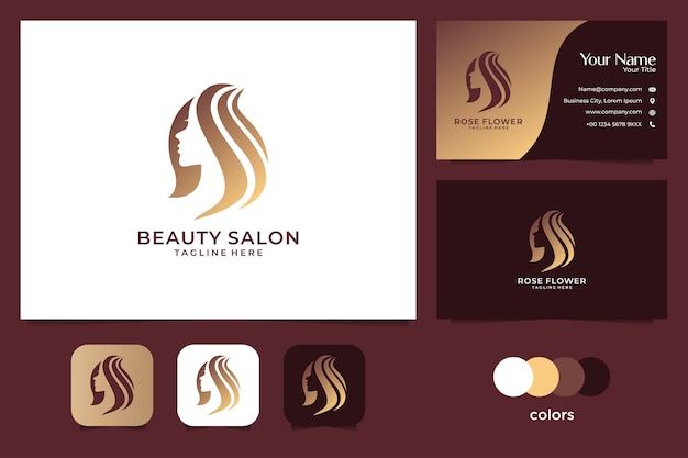 Beauty women gold logo design and business card. good use for fashion and salon logo