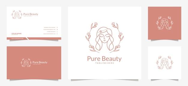 美容女性の髪のロゴと名刺