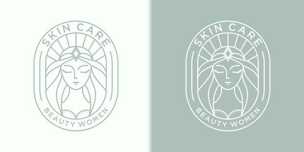 スキンケアのための美容女性の髪のロゴのデザインのインスピレーション