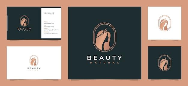 名刺で美容女性の髪のロゴのデザインのインスピレーション