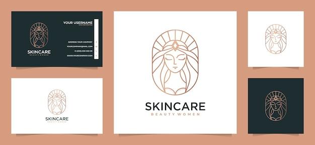 Beauty women hair logo design inspiration with business card