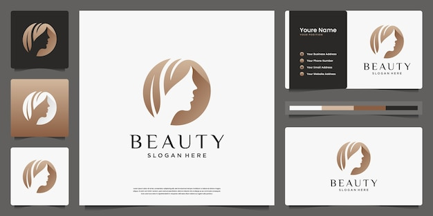 Салон красоты женщин парикмахерская золотой градиент дизайн логотипа и визитная карточка