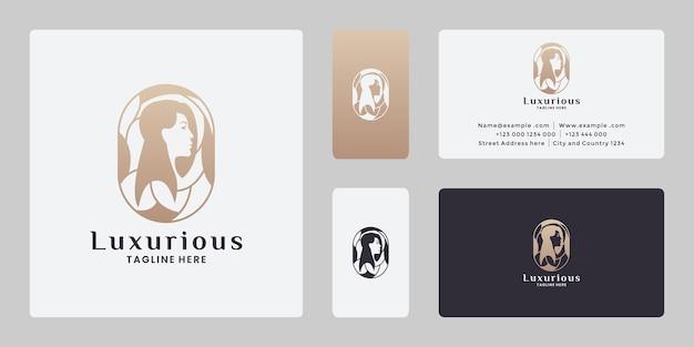Красота женщины прическа значок дизайн логотипа с золотым цветом