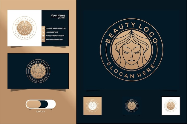 미용 여성 라인 아트 로고 디자인 및 명함 살롱 및 스파 로고에 적합