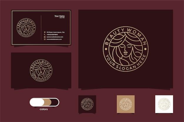 美容女性のラインアートのロゴのデザインと名刺。サロンやスパのロゴに最適