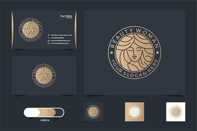 뷰티 여성 라인 아트 로고 디자인 및 명함. 살롱 및 스파 로고에 적합