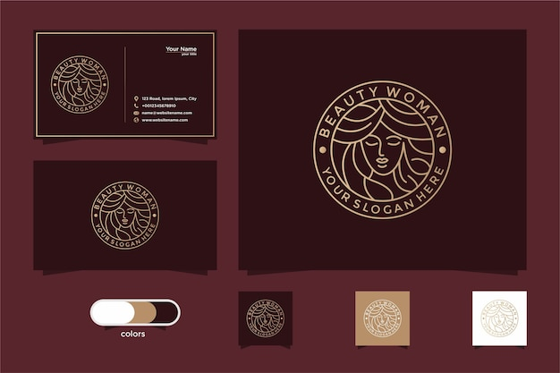Beauty women line art logo design and business card. good use for salon and spa logo