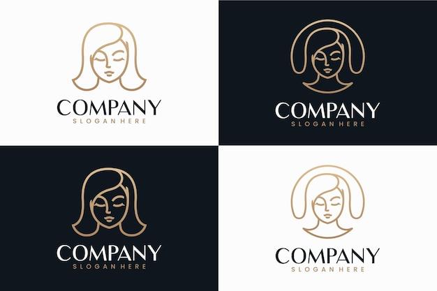 美容女性のラインアート、ロゴデザインのインスピレーション