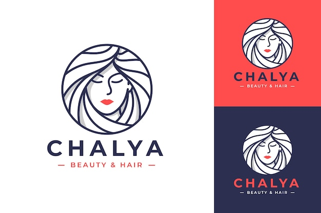 Beauty women line art logo design with three color options