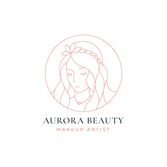 뷰티 여성 라인 아트 로고 디자인