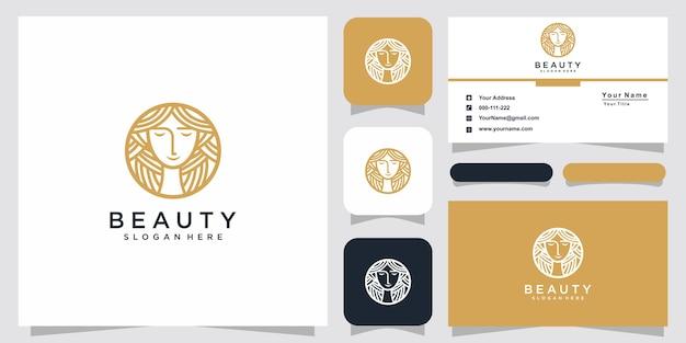 Beauty women line art logo inspiration and business card design