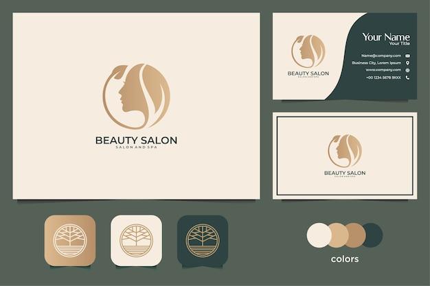 美容女性のロゴデザインと名刺。スパ、サロン、ファッションのロゴに最適