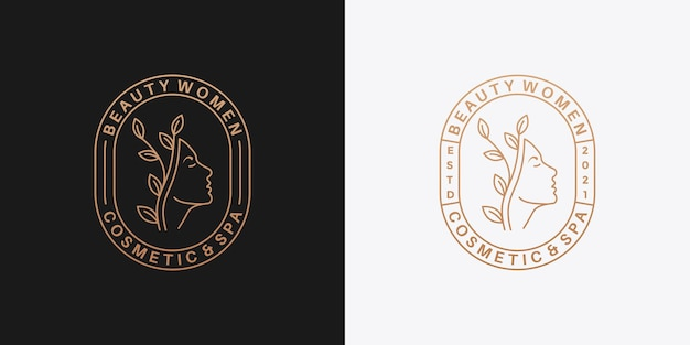 Красота женщины логотип дизайн значок ретро для вашего салона, косметики, спа