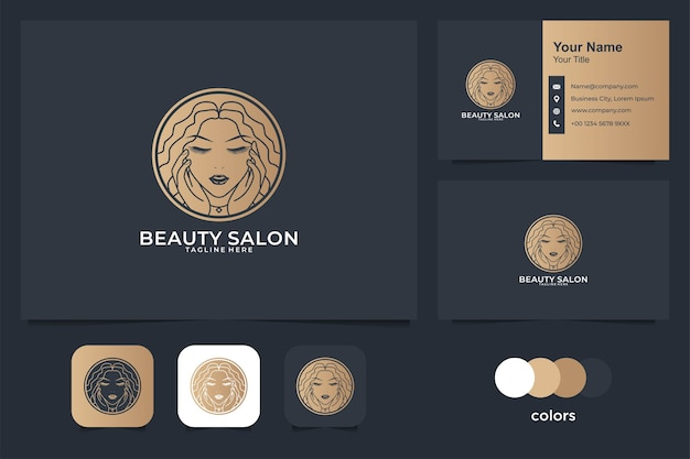 Beauty women logo design and business card. good use for salon, spa and fashion logo