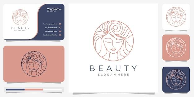 美容女性のロゴデザインのインスピレーションと名刺。美容、スキンケア、サロン、スパ、ヘアスタイル、サークル、エレガントなミニマリスト。ラインアートスタイルで。