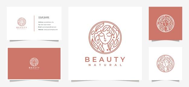 미용 여성 로고 디자인 영감, 잎과 명함의 조합으로 피부 관리, 살롱 및 스파