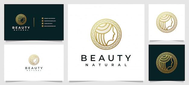 スキンケア、サロン、スパの美容女性のロゴデザインのインスピレーション、