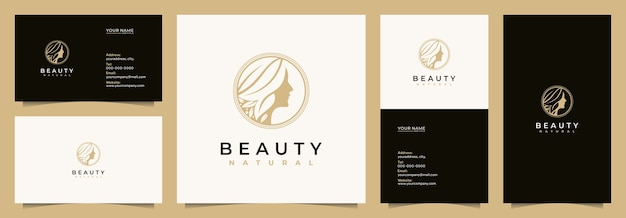Beauty women logo design inspiration for skin care, salons and spa, with name cards, business cards,