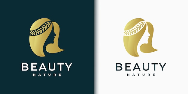 Beauty women logo design inspiration for skin care, salons and spas, with leaf combination