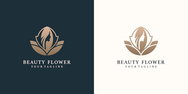 Beauty women logo design inspiration for skin care salons and spas with rose combination