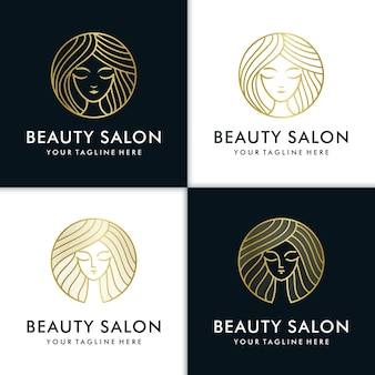 Beauty women logo design inspiration for skin care, yoga, cosmetic, salons and spa, with line concept