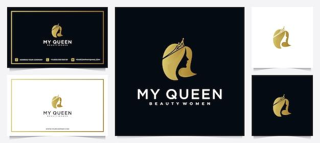 스킨 케어, 살롱 및 스파를위한 명함이있는 미용 여성 로고 디자인 영감, 크라운 조합