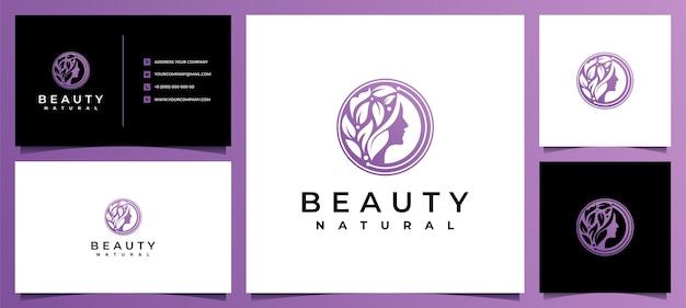 스킨 케어, 살롱 및 스파를위한 명함이있는 뷰티 여성 로고 디자인 영감, 리프 조합