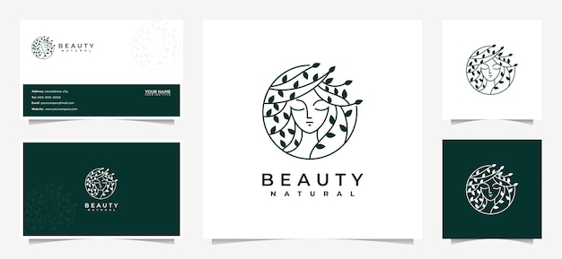 Вдохновение для дизайна логотипа beauty women с визитной карточкой для ухода за кожей, салонов и спа, с комбинацией листьев