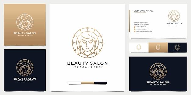 スキンケアサロンやスパの名刺のラインアートスタイルで美容女性のロゴデザインのインスピレーション