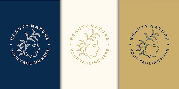 Beauty women logo design inspiration with nature and business card.