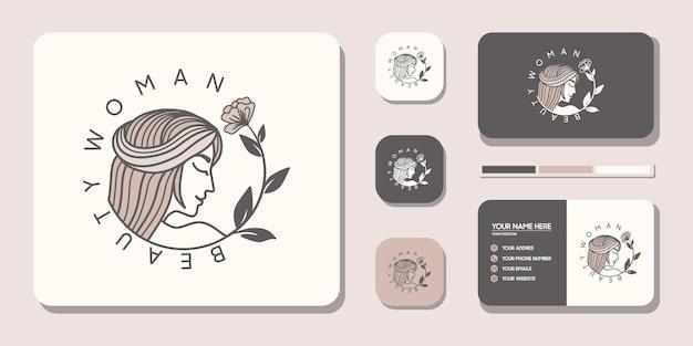 Логотип beauty women с визитной карточкой для салонов по уходу за кожей и спа с комбинацией листьев