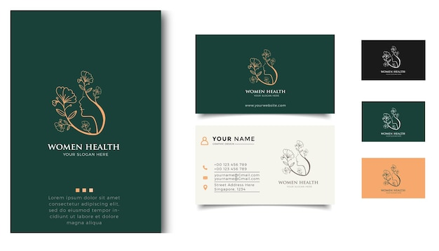 Beauty women logo inspiration with business card for skin care, salons and spas, with leaf combination
