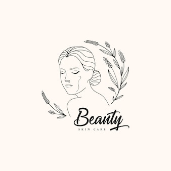 Beauty women logo with outline