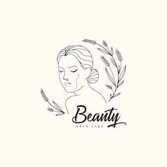 アウトラインと美容女性のロゴ