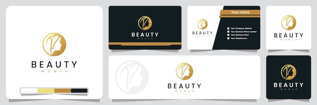 Beauty women , spa and salon, with gold color , logo design inspiration