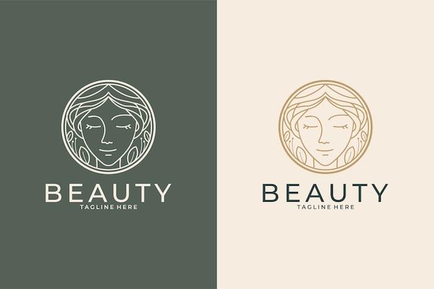 Beauty women with nature logo design set